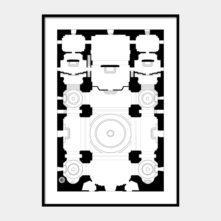 Art print of the architectural plan of the Minor Basilica of the Most Holy Rosary, in black on a white background and the poster is framed