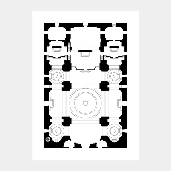 Art print of the architectural plan of the Minor Basilica of the Most Holy Rosary, in black on a white background