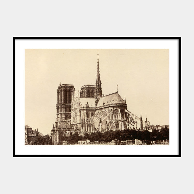 Photographic print of Cathédrale Notre-Dame de Paris from 1860, with a white border and the poster is framed