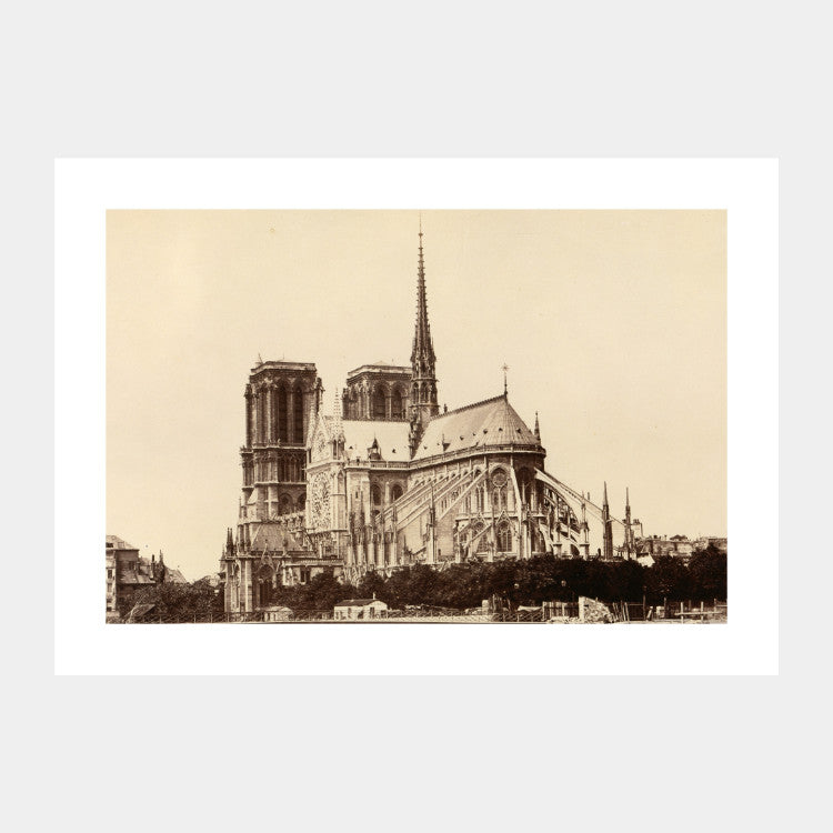 Photographic print of Cathédrale Notre-Dame de Paris from 1860, with a white border