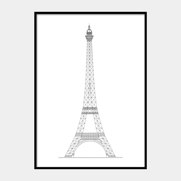 Art print of the architectural plan for the Eiffel Tower, in black on a white background and the poster is framed