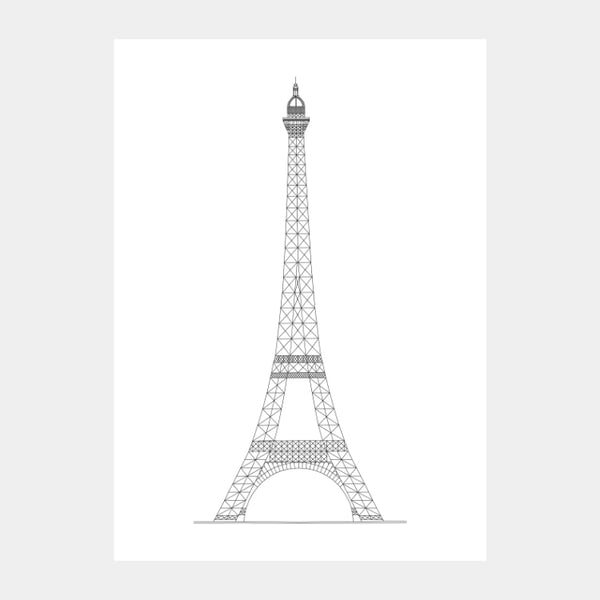 Art print of the architectural plan for the Eiffel Tower, in black on a white background