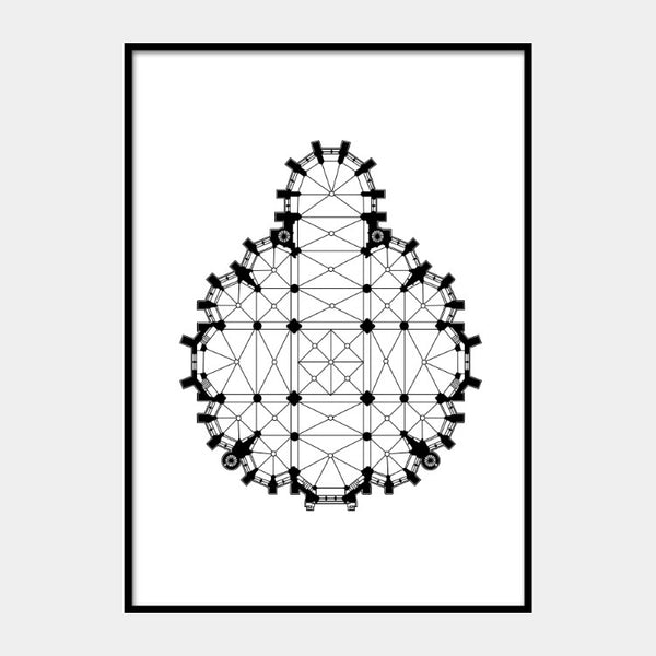 Art print of the round architectural plan of Church of Our Lady, in black on a white background and the poster is framed