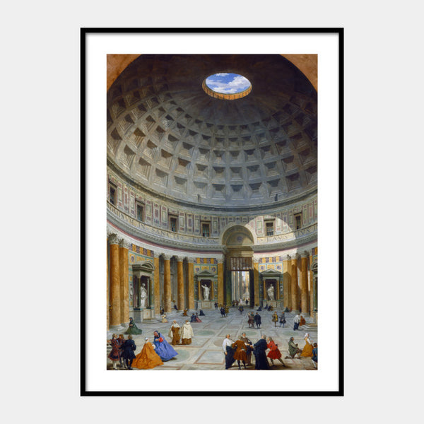 Art print of the 18th century painting of Pantheon, Rome, with a white border and the poster is framed