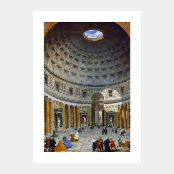 Art print of the 18th century painting of Pantheon, Rome, with a white border