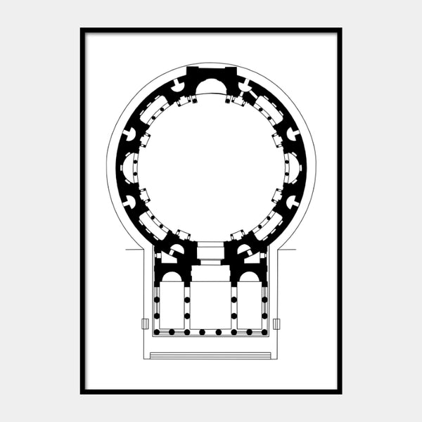 Art print of the architectural plan for the Pantheon, Rome, in black on a white background and the poster is framed