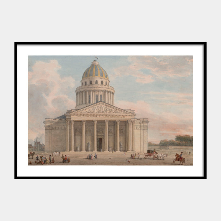 Art print of the 18th century painting of Panthéon, Paris, with a white border and the poster is framed