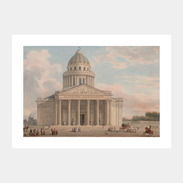 Art print of the 18th century painting of Panthéon, Paris, with a white border