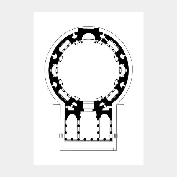 Art print of the architectural plan for the Pantheon, Rome, in black on a white background