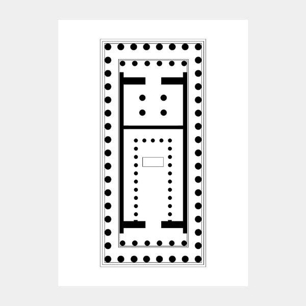 Art print of the architectural plan for the Parthenon, in black on a white background