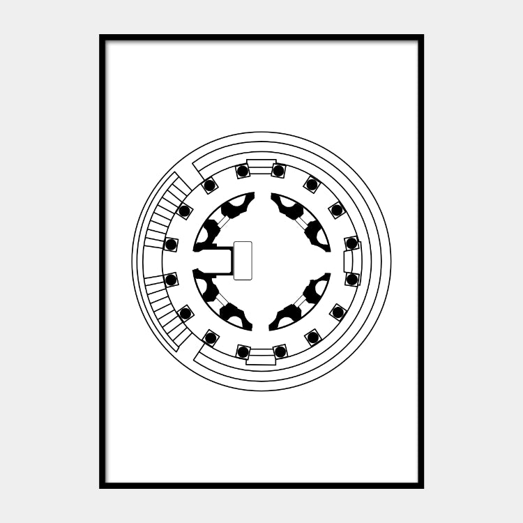 Art print of the architectural plan for the Temple Bramantes, in black on a white background and the poster is framed