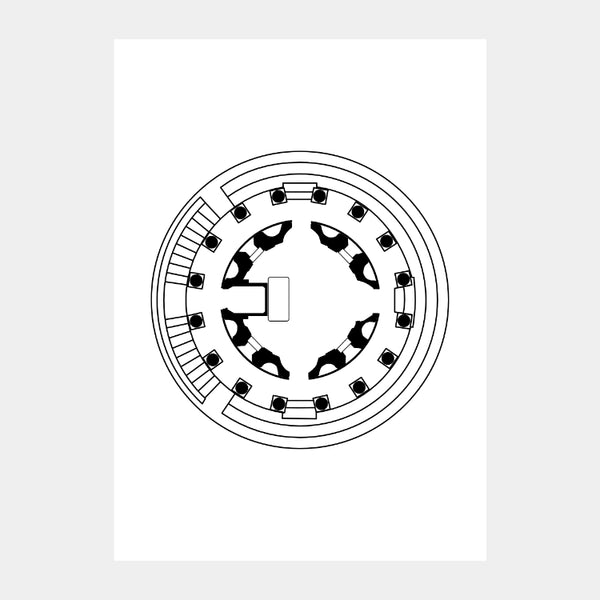 Art print of the architectural plan for the Temple Bramantes, in black on a white background