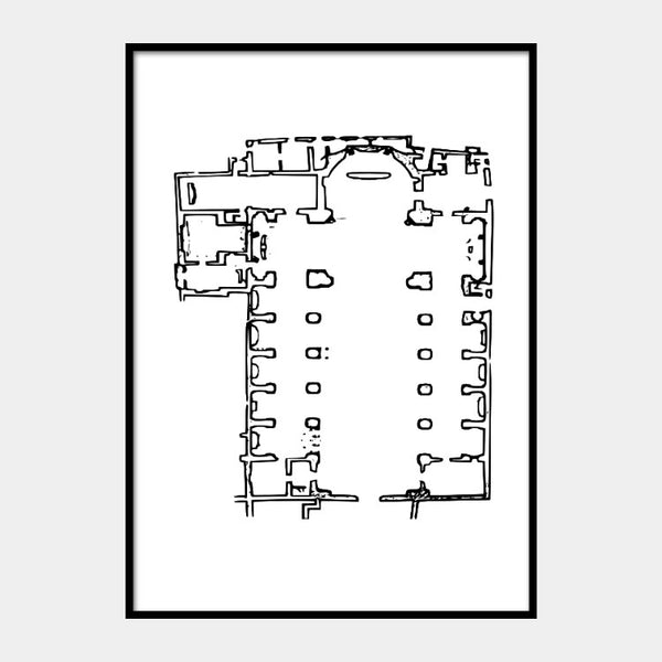 Art print of the architectural plan for the Basilica of San Giovanni Maggiore, in black on a white background and the poster is framed