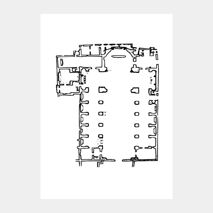 Art print of the architectural plan for the Basilica of San Giovanni Maggiore, in black on a white background