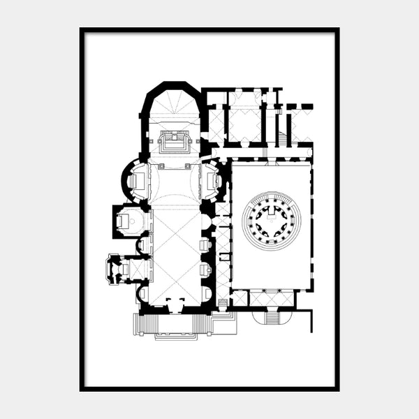 Art print of the architectural plan for the Church of San Pietro in Montorio, in black on a white background and the poster is framed