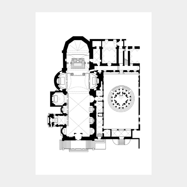 Art print of the architectural plan for the Church of San Pietro in Montorio, in black on a white background