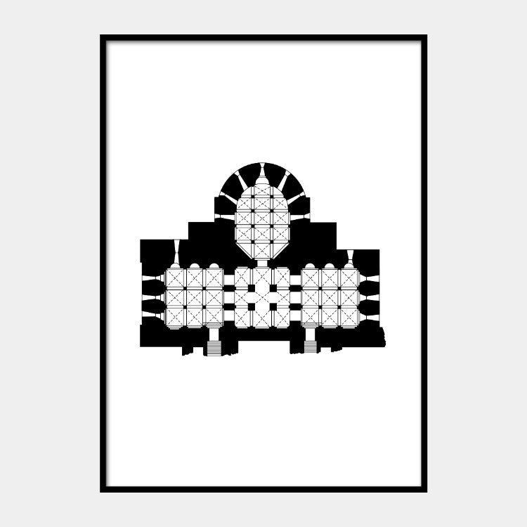 Art print of the architectural plan of Speyer Cathedral, in black on a white background and the poster is framed