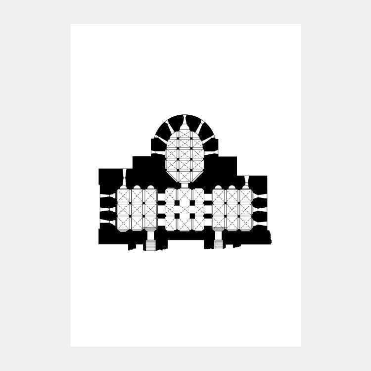 Art print of the round architectural plan of Church of Our Lady, in black on a white background
