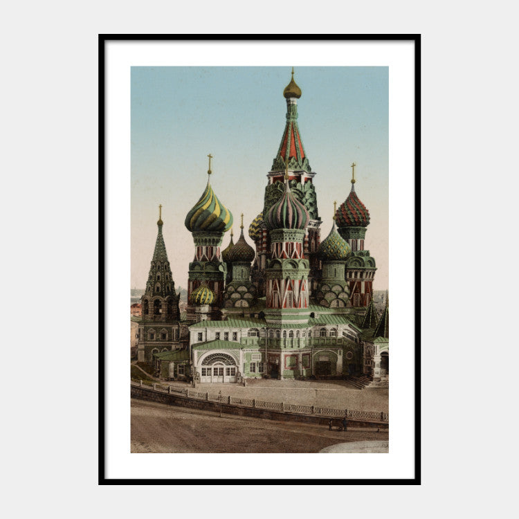 Photochromic print of the St. Basil's Cathedral from 1890, with a white border and the poster is framed