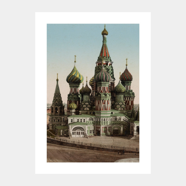 Photochromic print of the St. Basil's Cathedral from 1890, with a white border