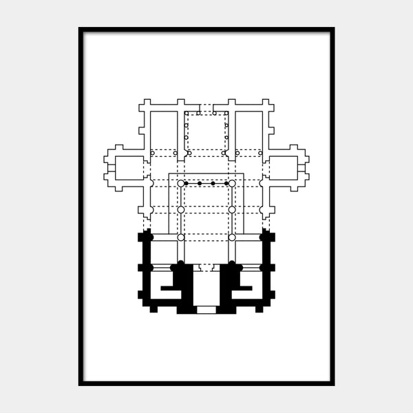 Art print of the architectural plan for the Church of St. Michael of Lillo, in black on a white background and the poster is framed