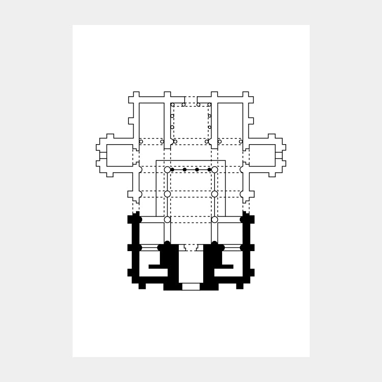 Art print of the architectural plan for the Church of St. Michael of Lillo, in black on a white background