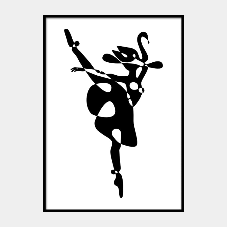 Graphical print of an abstract ballerina swan dancer in black on a white background and the poster is framed