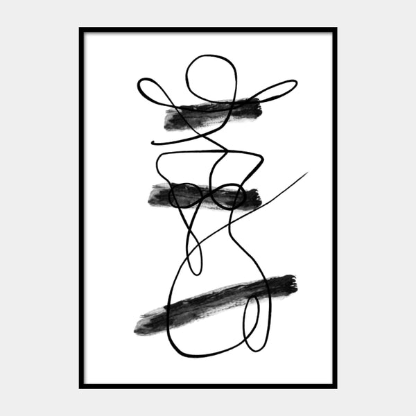 Line art of a female shape and three brush lines in black on a white background and the poster is framed