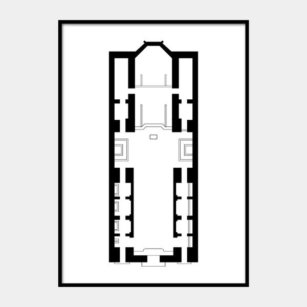 Art print of the architectural plan for the Notre-Dame des Victoires, in black on a white background and the poster is framed