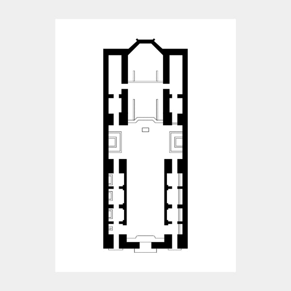 Art print of the architectural plan for the Notre-Dame des Victoires, in black on a white background