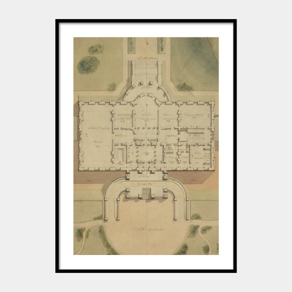Art print of the original site plan of the White House with a white border and the poster is framed