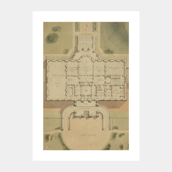 Art print of the original site plan of the White House with a white border