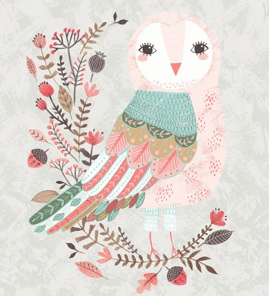 Forest Owl Light Taupe Panel