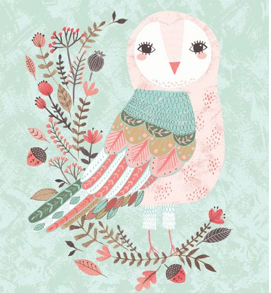 Forest Owl Light Teal Panel