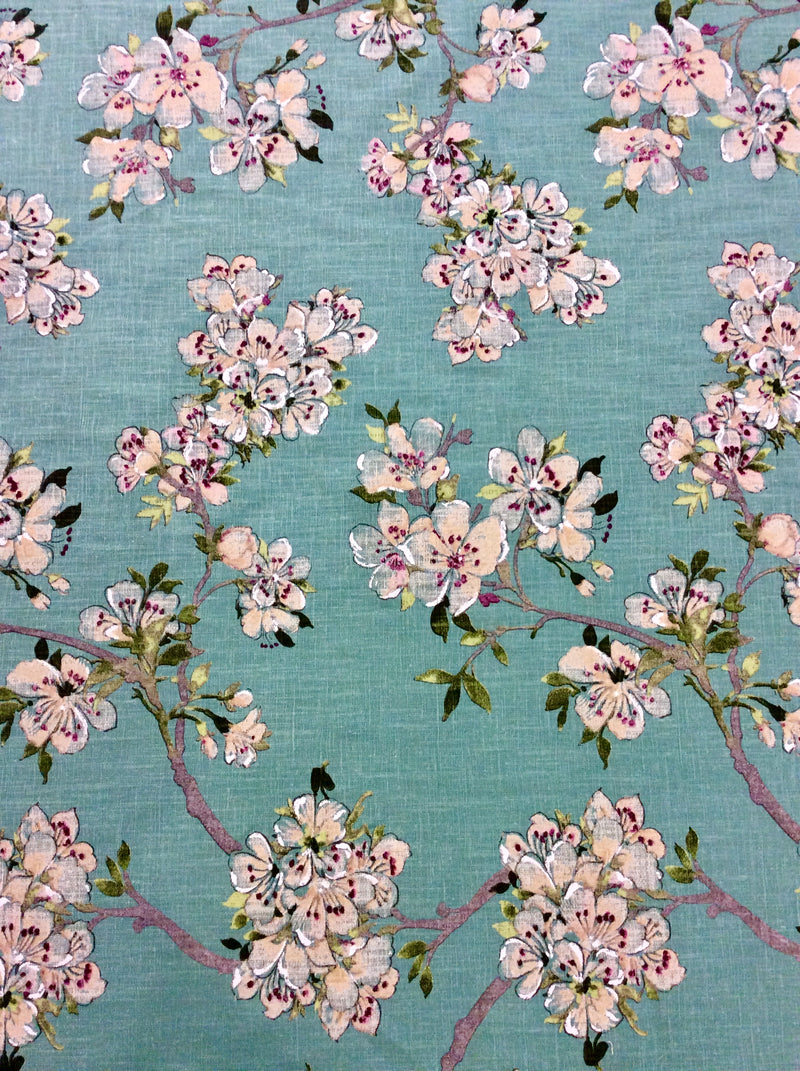 French Prunus Toile Ramie Prarie