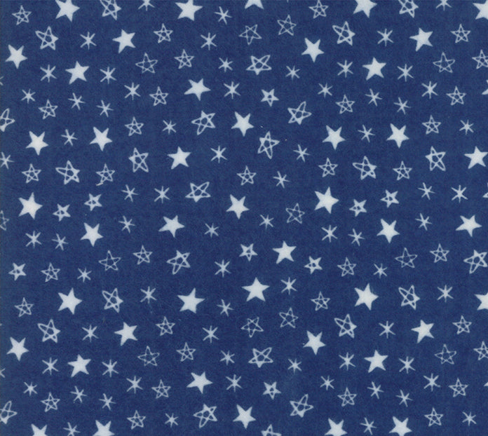 Soft Sweet Stars Navy Flannel