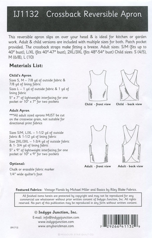 Crossback Reversible Apron Pattern