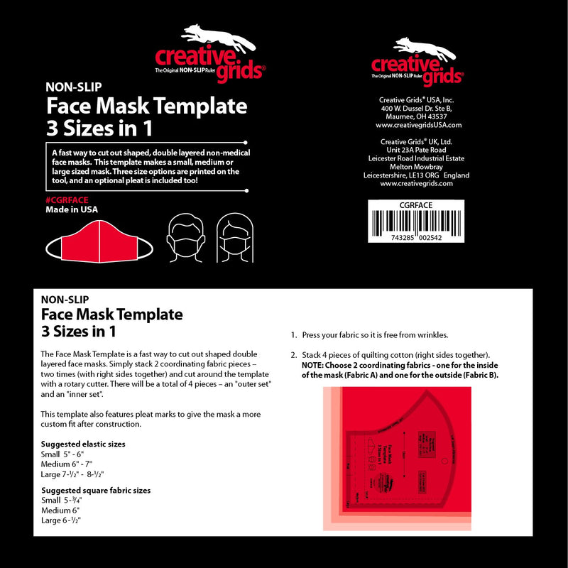 Creative Grids Face Mask Template 3 in 1