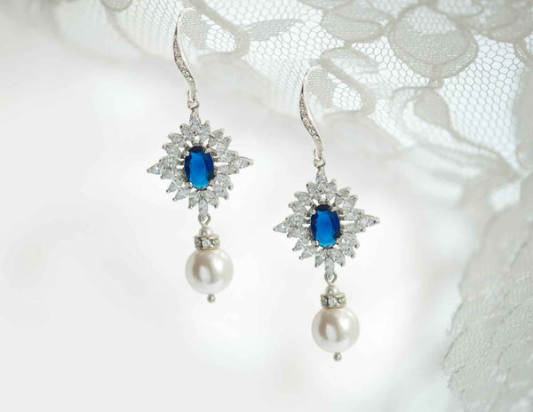 Swarovski Pearl Sapphire Crystal Hook Earrings Wedding Bridal Set NE 45