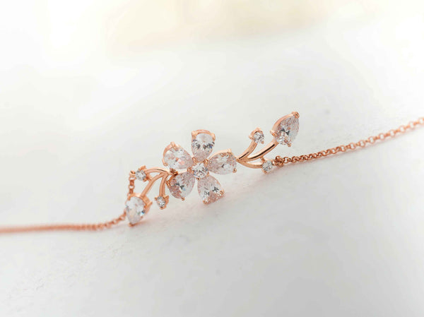 Bridal Swarovski Pearl and Crystal Bracelet in Rose gold/ Silver, Floral lBracelet, Cubic Zirconia Jewelry, B 14
