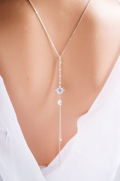 2 Strands Backdrop Necklace, Swarovski Pearl and Crystal Backdrop Necklace,Wedding Necklace N 41