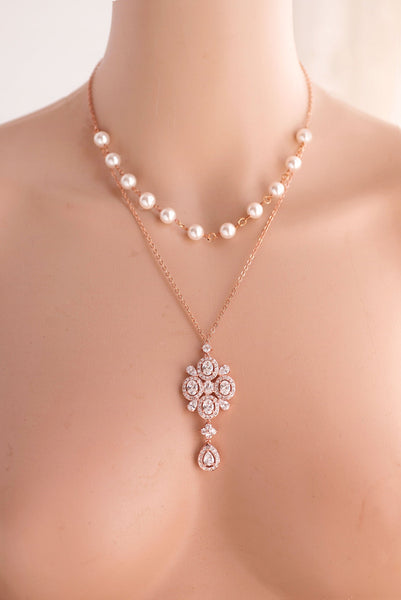 Wedding Bridal 2 Strands Swarovski Pearl and Crystal Necklace Pendant necklace N 32