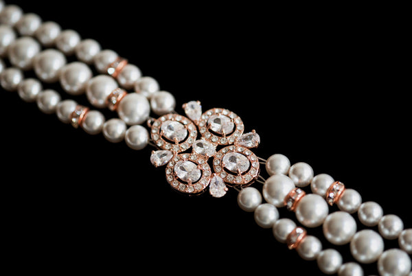 3 Strands Bracelet, Bridal Swarovski Pearl and Crystal Bracelet in Silver /Rose gold, wedding bridal Bracelet B 10