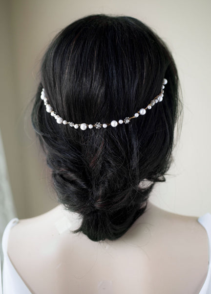 SIlver Swarovski Pearl / Crystal Chain and Crystal Halo Hairpiece Wedding Bridal H35