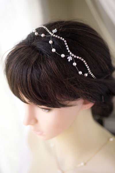 Swarovski Pearl and Silver Crystal  Halo Hairpiece Wedding Headpiece, Bridal Hair Accessories, Pearl Wedding Headband, Pearl Headband H72