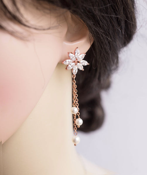 3 Strands Swarovski Pearl Rose Gold  Crystal Post Earrings Wedding Bridal E 31