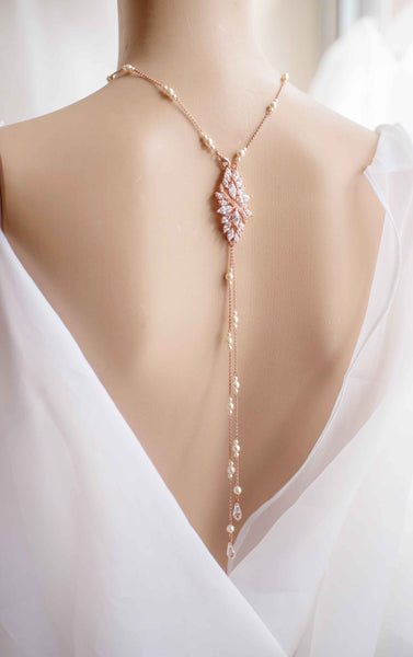 Backdrop Wedding Bridal Swarovski Pearl and Crystal Necklace  Statement necklace N 20