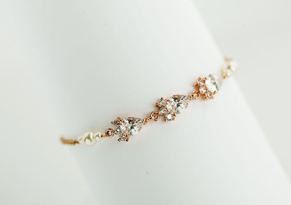 Bridal Swarovski Pearl and Crystal Bracelet Wedding Bridal, Bridesmaid Jewelry Gift, B19