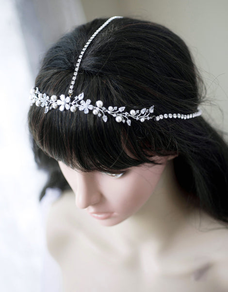 Rose Gold Silver Swarovski Pearl and Crystal Flower Halo Hairpiece Head Band Headband H73