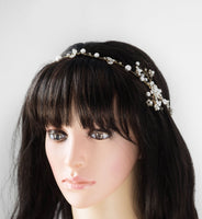 Wedding Bridal Warm Gold / Silver Swarovski Pearl / Crystal Chain and Crystal Halo Hairpiece H40